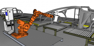 Laser radars mounted on a robot automatically inspect vehicles directly on the assembly line