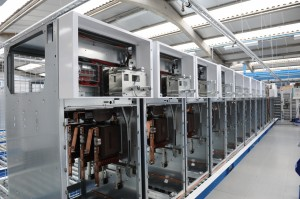 A line of medium voltage Switchgear cubicles