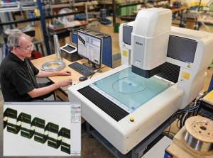 Paul Thomas, development engineer at Clifford Springs, measuring the circumference of an irregularly shaped seal energising spring to an accuracy within single-figure microns on the Nikon Metrology iNexiv VMA-4540 video measuring machine
