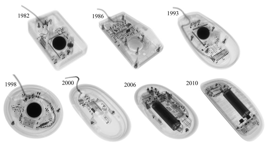 The evolution of the Apple mouse/Imaged with the X-rays of a Nikon's XT H 225 ST computed tomography system.