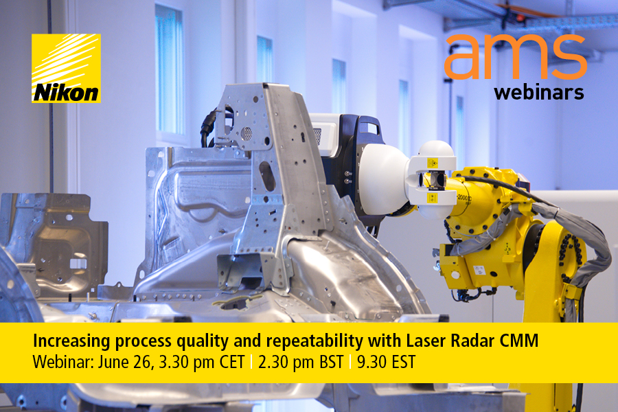 Click on the image to register for the 'Increasing process quality and repeatability with Laser Radar CMM' webinar.