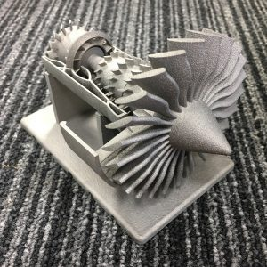 Image of a 3D printed replica jet engine model.